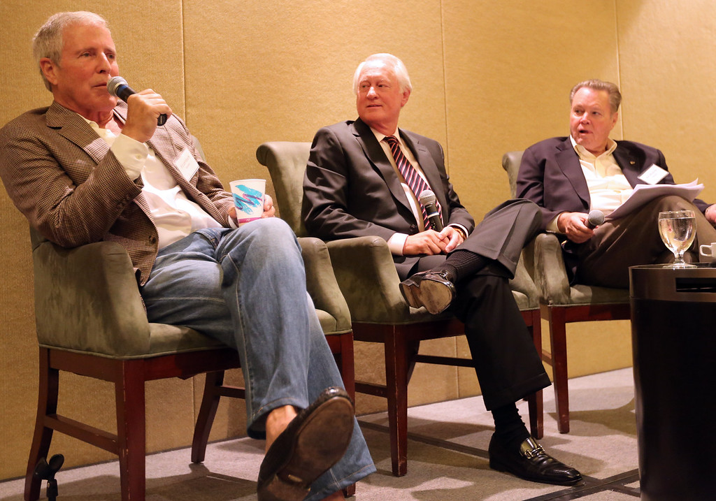 Ed Leinbach, Mike Case and Bill Mizener participate in a roundtable discussion at the monthly NAIOP meeting in Tulsa