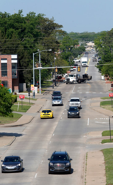 Jenk's Main Street looking West from the First Oklahoma bank building.