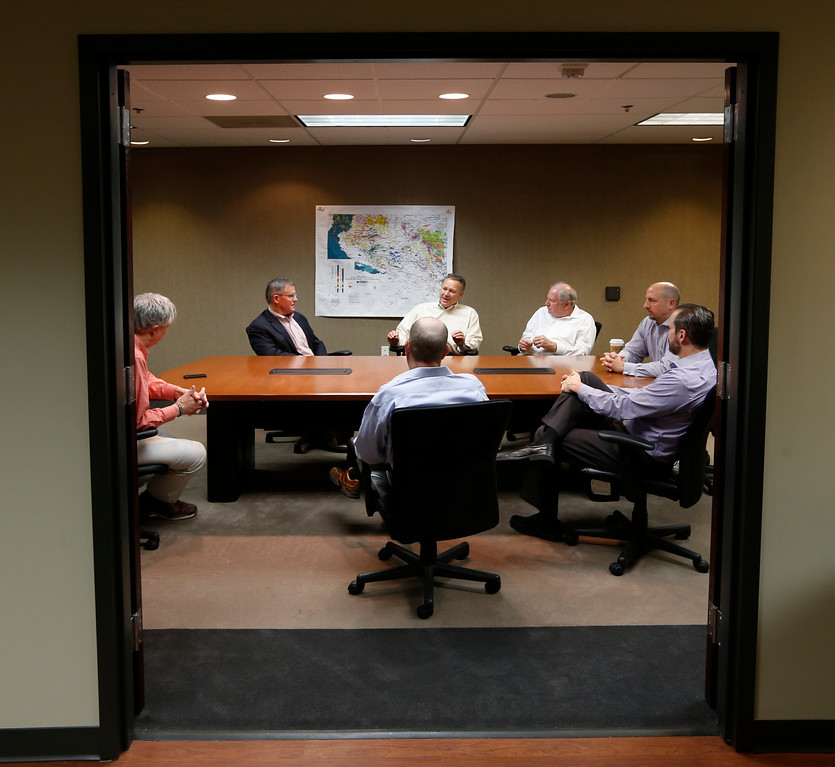 Atalaya Resources Rob Johnston, Lawrence Brunsman, Dave Stangl, Michael Bose, Todd Brasel and Curt Jones.<br /> <br /> Answer reporter Ray Tuttle (left) questions Thursday in Tulsa?