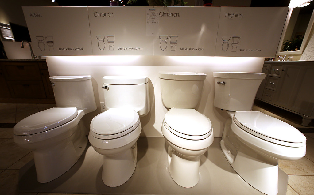 Eco friendly toilets on display at the Heatwave Supply showroom.