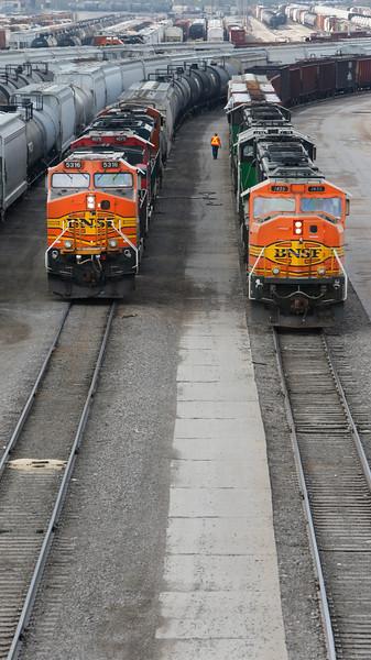 at the BNSF railroad yard near downtown Tulsa.