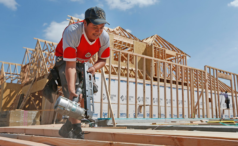 Construction crews build (rough in) a home in south Tulsa.