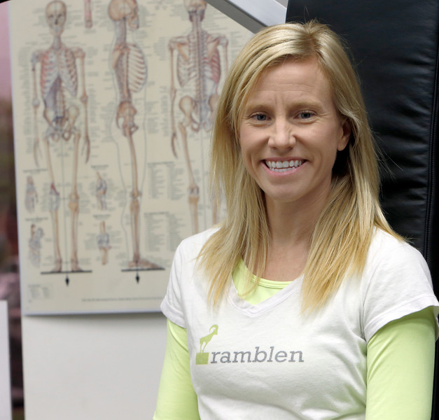 Natalie cable, Co-Founder of Ramblen, pauses for a photo at her south Tulsa gym.
