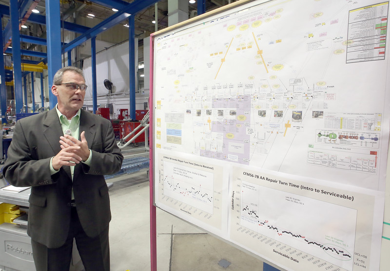 Wayne Thomas, Director of Engine Maintenance stands next to a work flow chart used to track the progress of engine rebuilds at the American Airlines maintenance base in Tulsa.