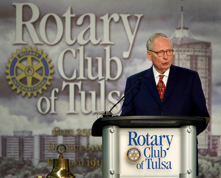 Stephen Jones, lead defense attorney for Timothy McVeigh, speaks about the Oklahoma City Bombing's 20th anniversary to the Rotary Club of Tulsa Wednesday.
