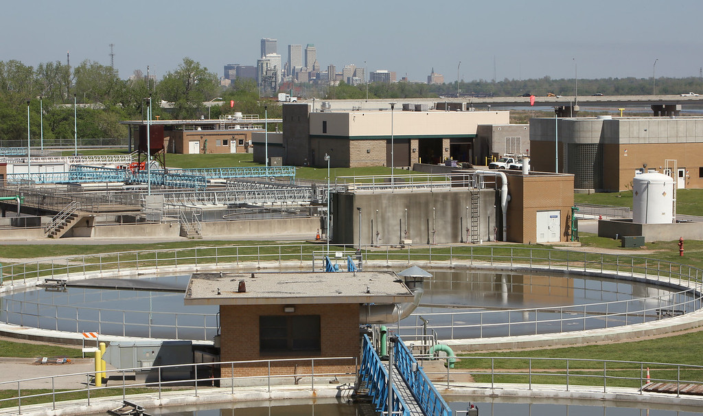 Settlement ponds at the Tulsa water treatment facility in Tulsa.