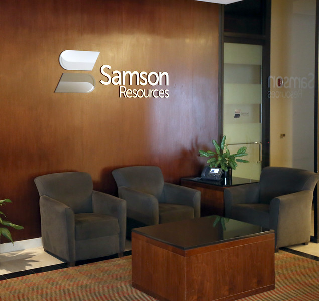 The empty lobby of Sampson resources in downtown Tulsa.