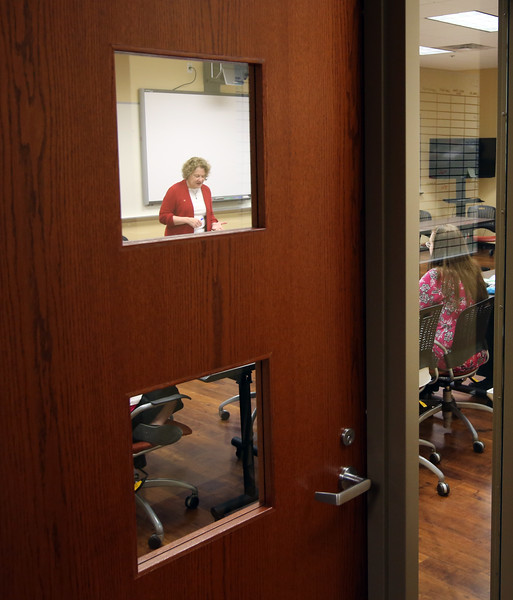 A teaching classroom at the women in recover facility in downtown Tulsa.