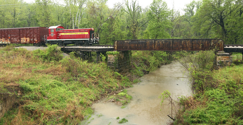 Tulsa-Sapulpa train passes over a rain creek en route to Kimberly Clark plant in Jenks.