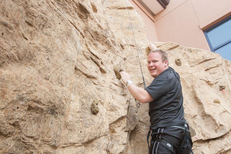 Ryan Kolb on the climbing wall at UCO.
