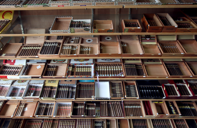 The Cigar Box's retail selection.