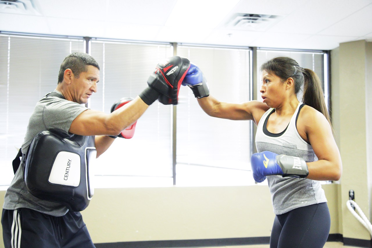 Christine Bui during her routine lunch time workout at the Oklahoma City Indian Clinic.
