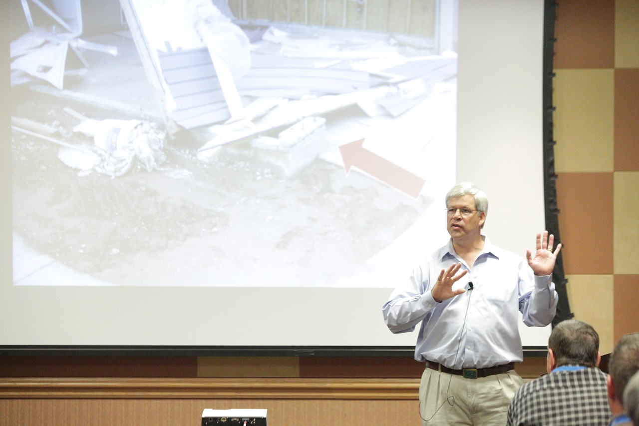 Chris Ramseyer, Director of the Fears Structural Engineering Laboratory at the University of Oklahoma, speaking about building homes in high wind and tornado areas at the Oklahoma State Home Builders Asdociation convention in Oklahoma City.