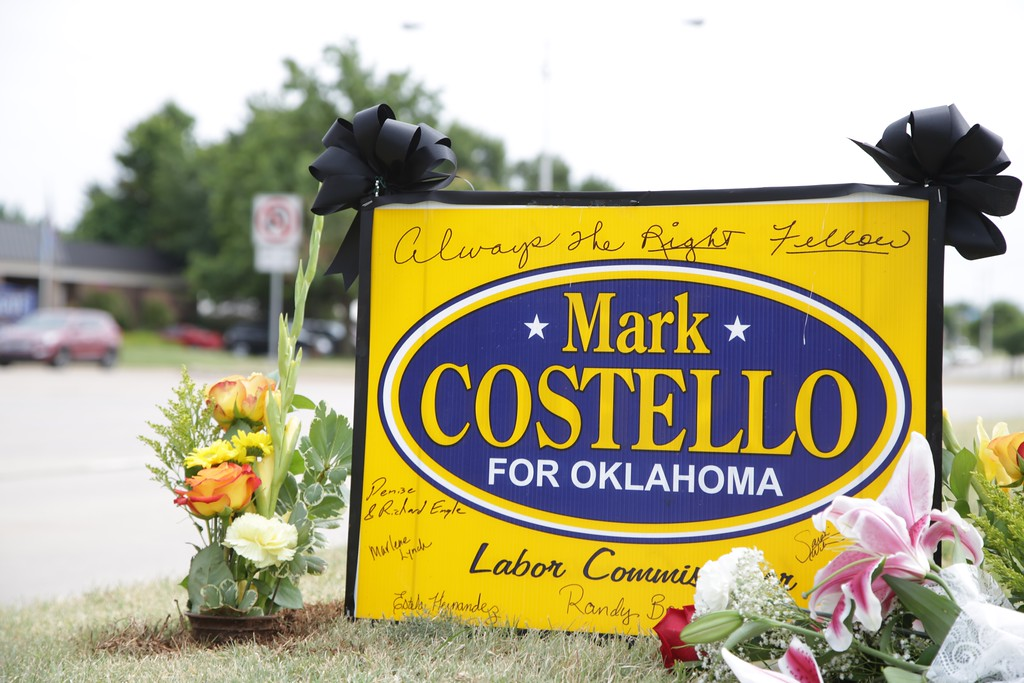 A memorial to Mark Costello outside the Oklahoma Republican Headquarters.