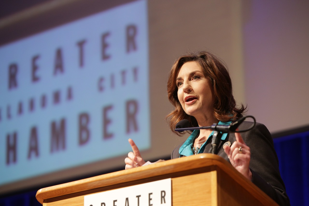 Joy Hofmeister, Oklahoma's State Superintendent of Public Instruction, speaking at this year's State of Education luncheon hosted by the Oklahoma City Chamber of Commerce.