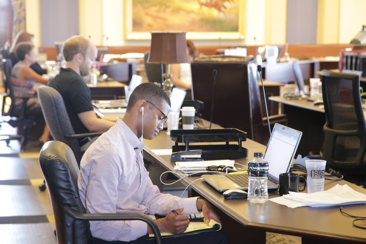 Staffers at the Oklahoma State Capitol are working wherever space is available during the restorotation of the ninty six year building.