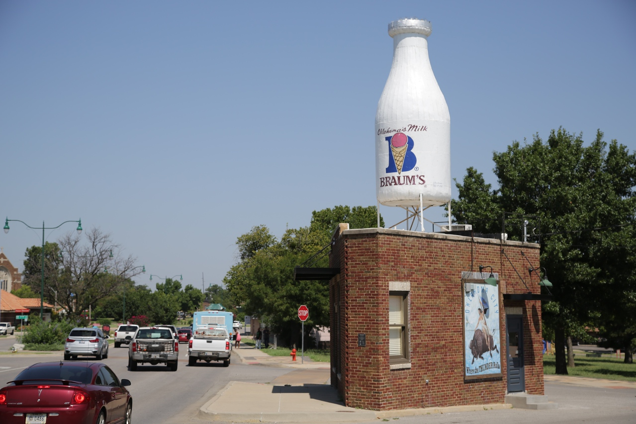 The milk bottle building at NW 23rd and Classen in Oklahoma City, OK.