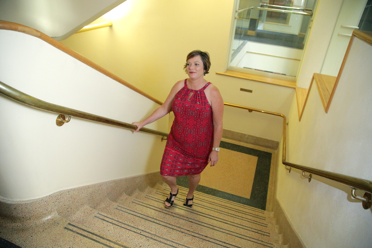 Brook Arebeitman walks the stairs for her daily exercise at Oklahoma City University School of Law.