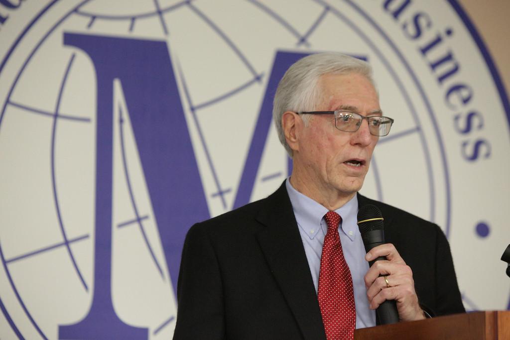 University of Oklahoma economics proffessor Robert Dauffenbach, PhD speaking at the Economic Round Table held at Oklahoma City University in Oklahoma City, OK.