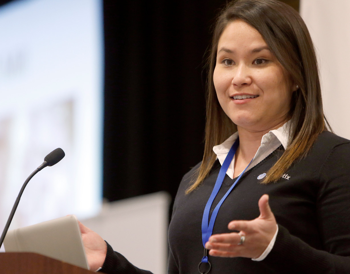 Kimberly Early, Well Optix Marketing Manager, delivers her presentation at the Mid-Continent Digital Oil Conference in Tulsa.
