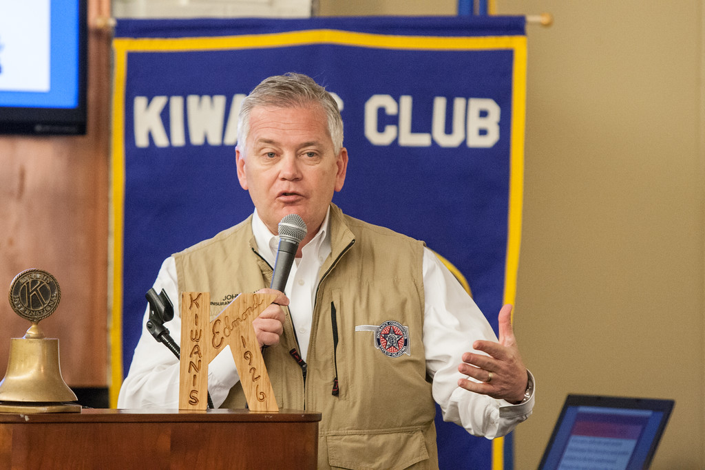 Oklahoma State Insurance Commisioner John Doak speaking at the weekly meeting of the Edmond Kiwanis Club.