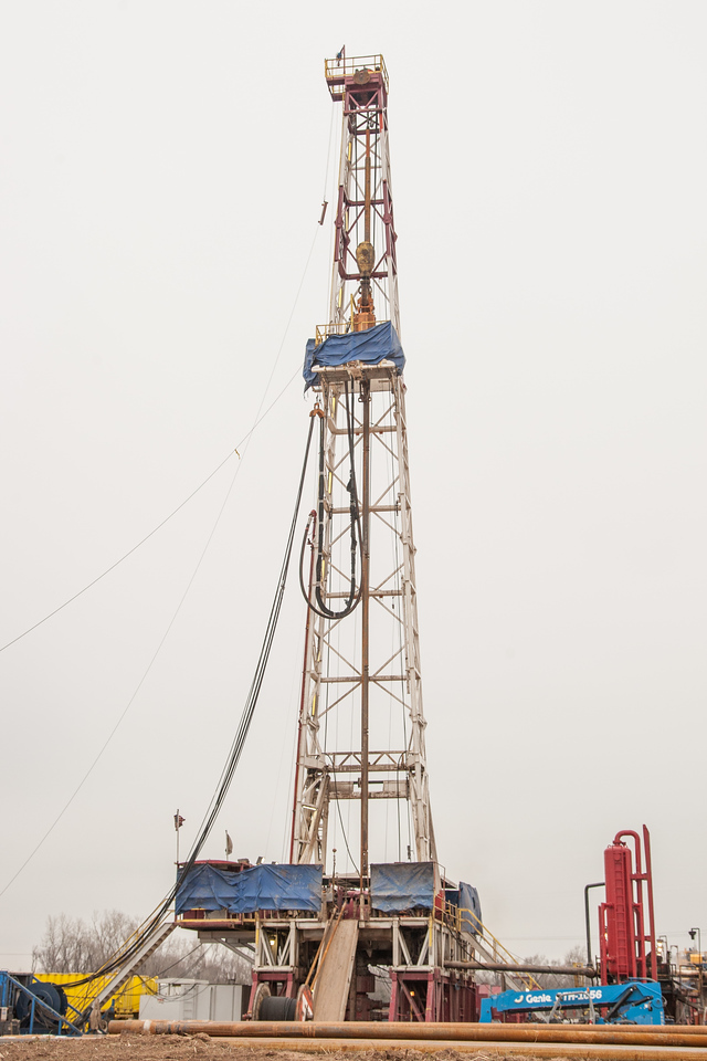 A drilling operation in southwest Oklahoma City run by Sidewinder Drilling.