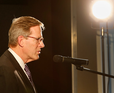 David Page, Chairman of the Tulsa Port Authority, gives the State of the Port Address Wednesday.
