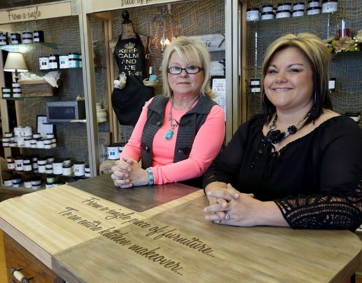 Kathy Campbell and Annette Wicker,  co-owners of Plaster Paint in Catoosa.