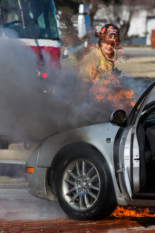 The Oklahoma City fire department respond to a car fire at W Reno and  Classen in Oklahoma CIty.