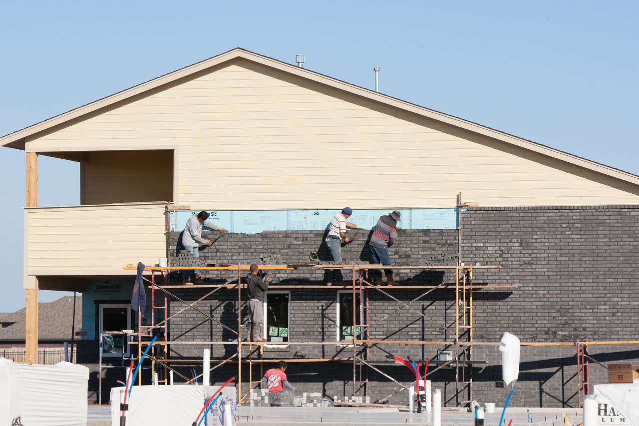 Brick being installed at a new home at NW 173rd and Shadowhawk Lane.