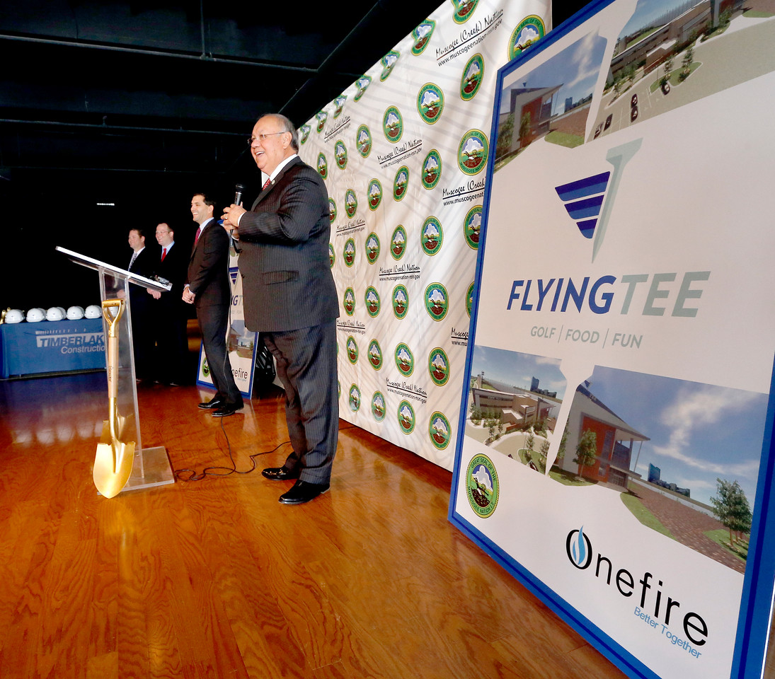 Muscogee (Creek) Nation's Principal Chief George Tiger announces the FlyingTee construction project in Jenks.
