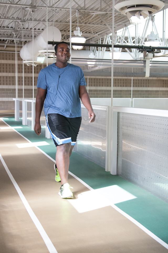 William White using his lunch time to walk the track and stairs at the Downtown YMCA in Oklahoma City, OK.
