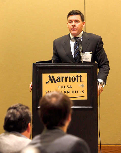 Eric W. Beichler, Managing Partner of Mohr Partners in Dallas,  gives his presentation at the NAIOP breakfast in Tulsa Wednesday morning.