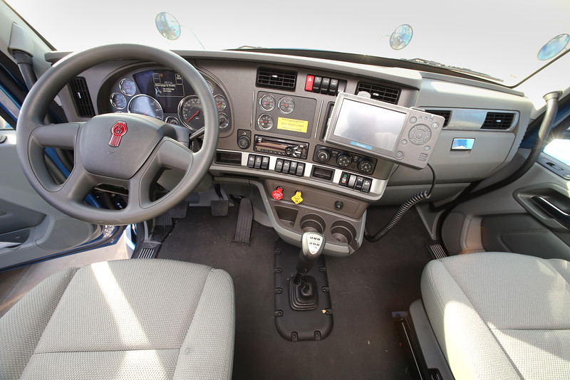 The drivers cab of a new tractor trailer truck ready to be put into service at Melton Truck Lines in Tulsa.
