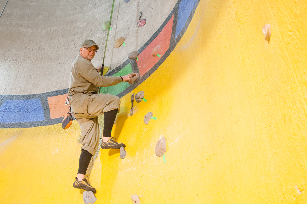Dr Dean Myers keeps fit by climbing at Rock Town Gym in Oklahoma City.