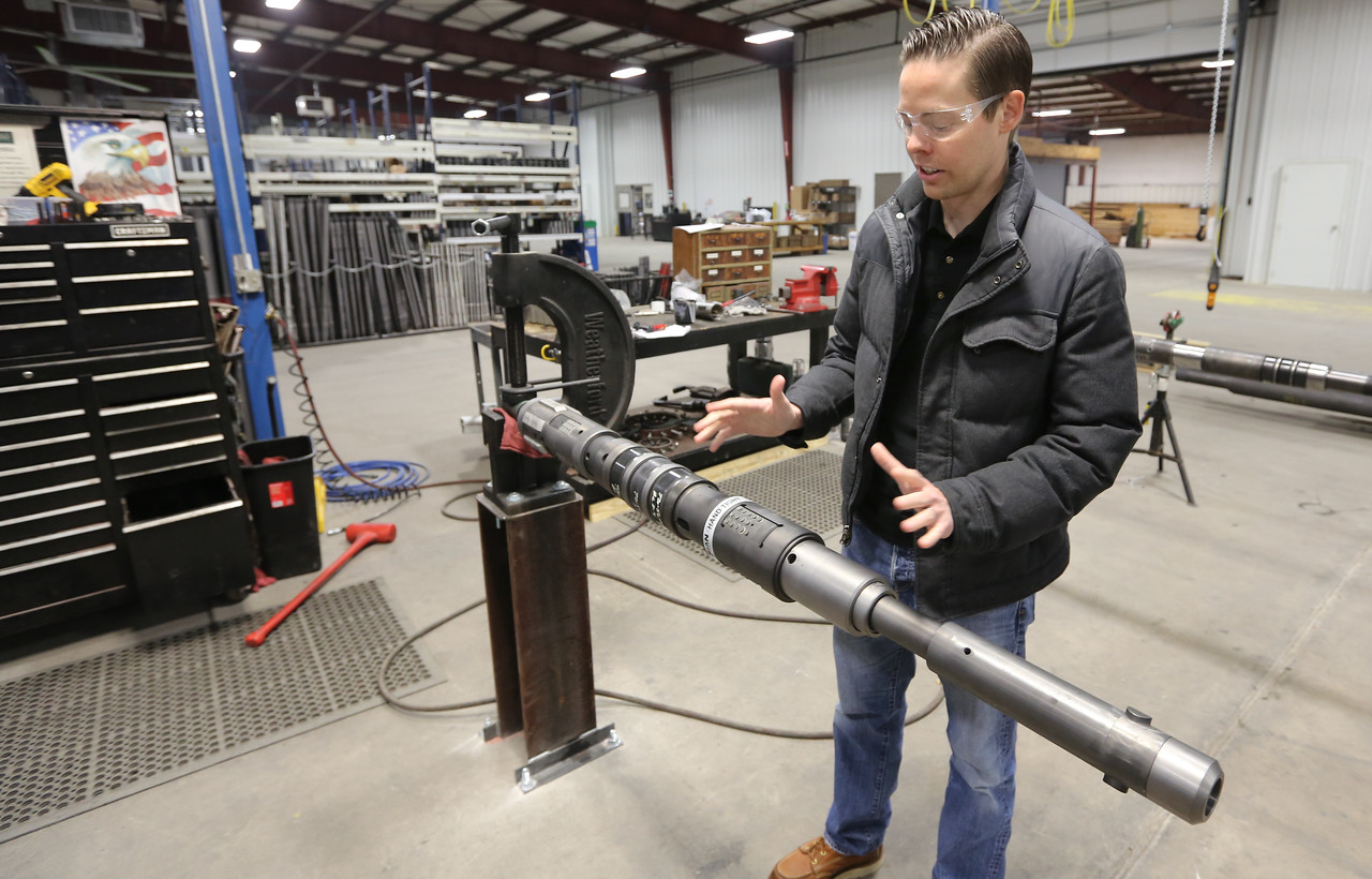 Evan Fleishacker, Senior Marketing Specialist for Logan International, at the Kline tools manufacturing facility in Tulsa.