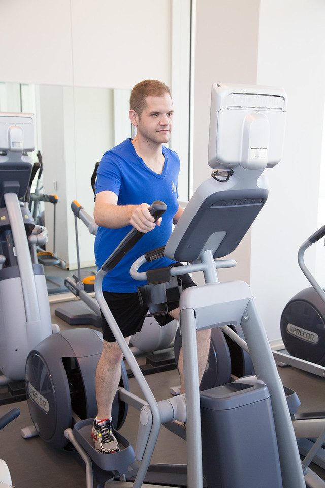 John Ice works out at the employee gym at Oklahoma Medical Research Foundation in Oklahoma City, OK.