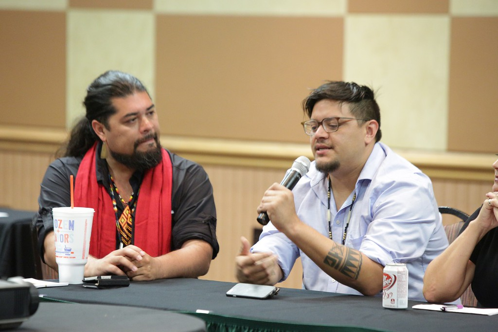 Artist DG Smalling (right) moderated a panel discussion on the state of Native American entertainment at the Oklahoma Indian Gaming Convention in Oklahoma City. Panel members included filmmaker Sterlin Harjo, actress Amy Tall Chief and Michelle Svenson with Killer Whale PR.