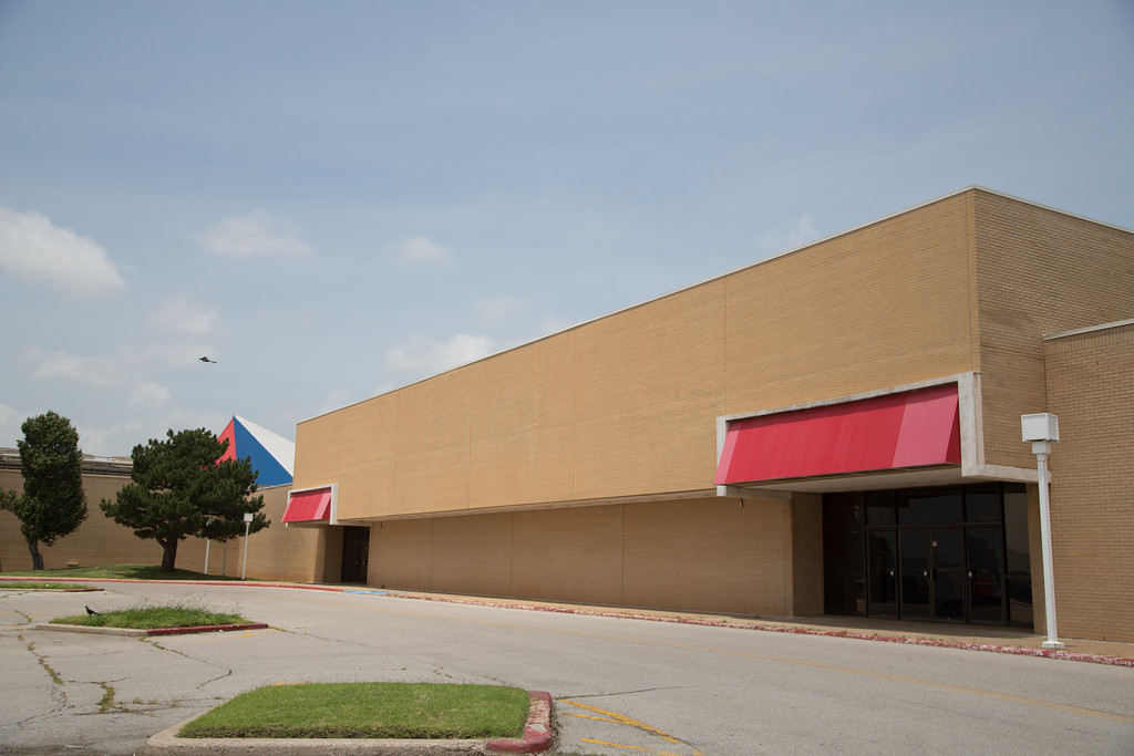 The former location of Montgomery Ward at Plaza Mayor Mall located at I-235 and I-35 in Oklahoma City, OK.