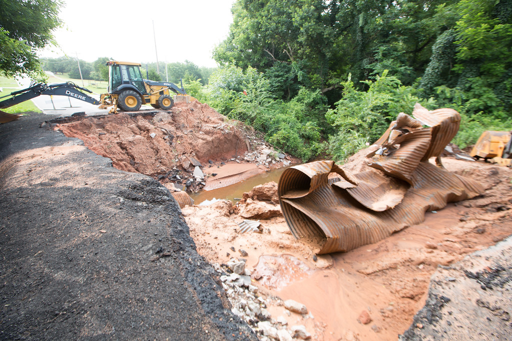 A washed out bridge on Franklin Road just east of 36th NE in Norman, OK.
