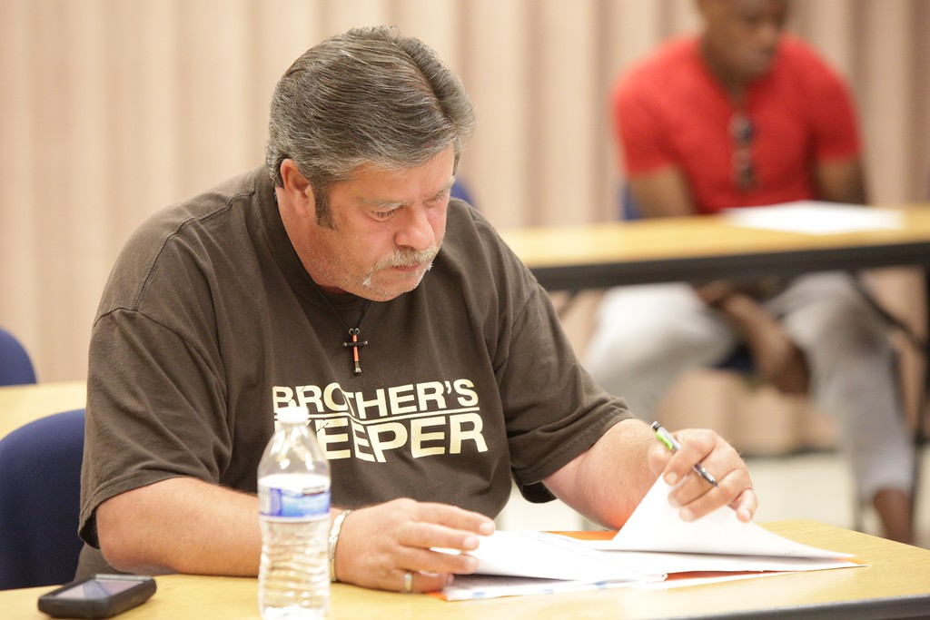 Donald George during a sociology class at Oklahoma City Community College.