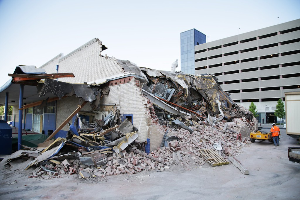 Demolition of the Union Bus Station in Oklahoma City.