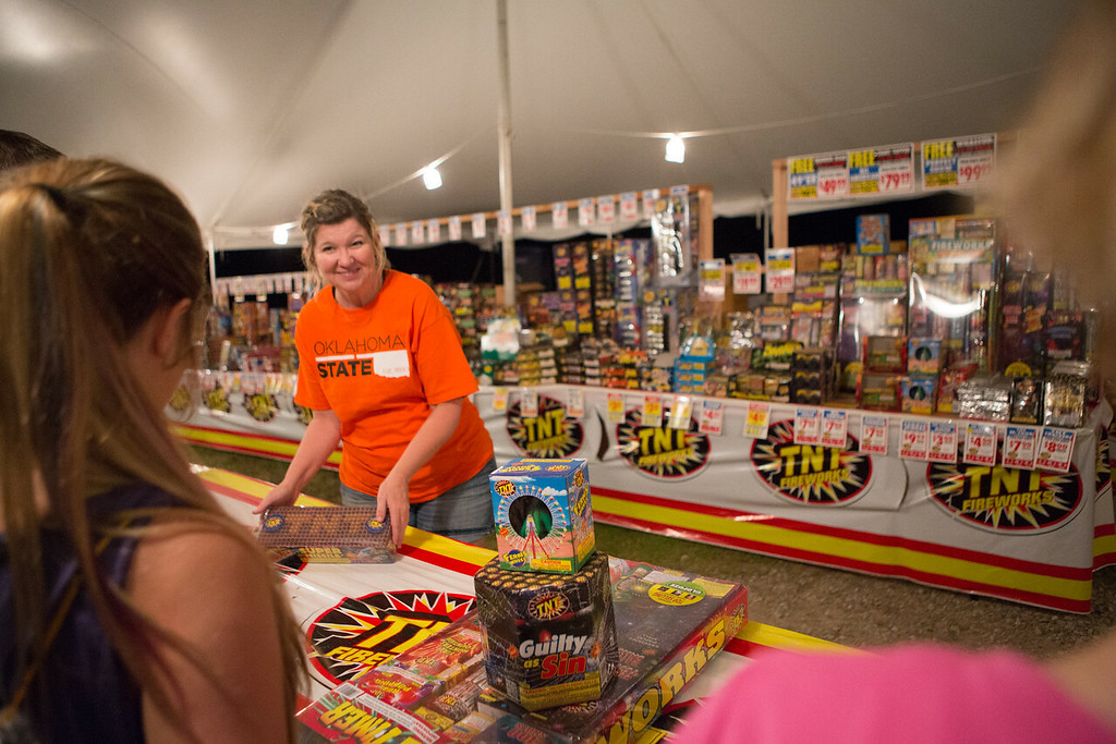 Cheryl Hooper selling fireworks at TNT Fireworks just outside Arcadia, OK.