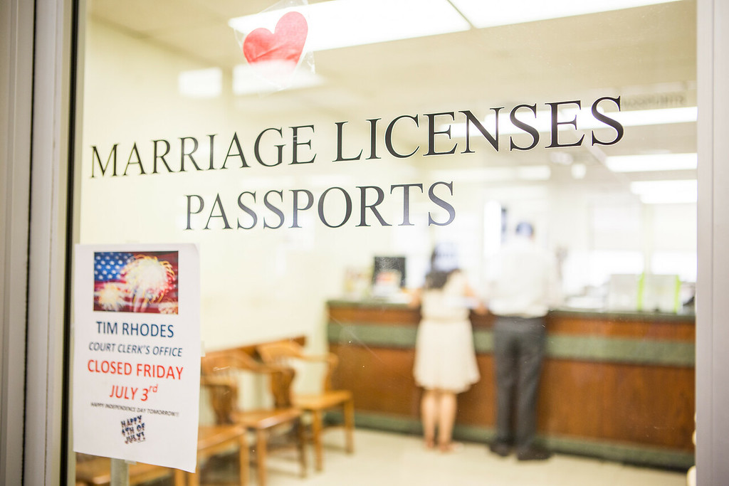 The Marriage Licenses counter at the Oklahoma County Courthouse.