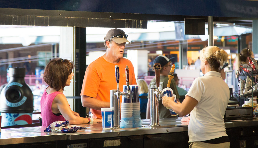 Beer being sold at an Oklahoma City Dodgers game in Oklahoma CIty.