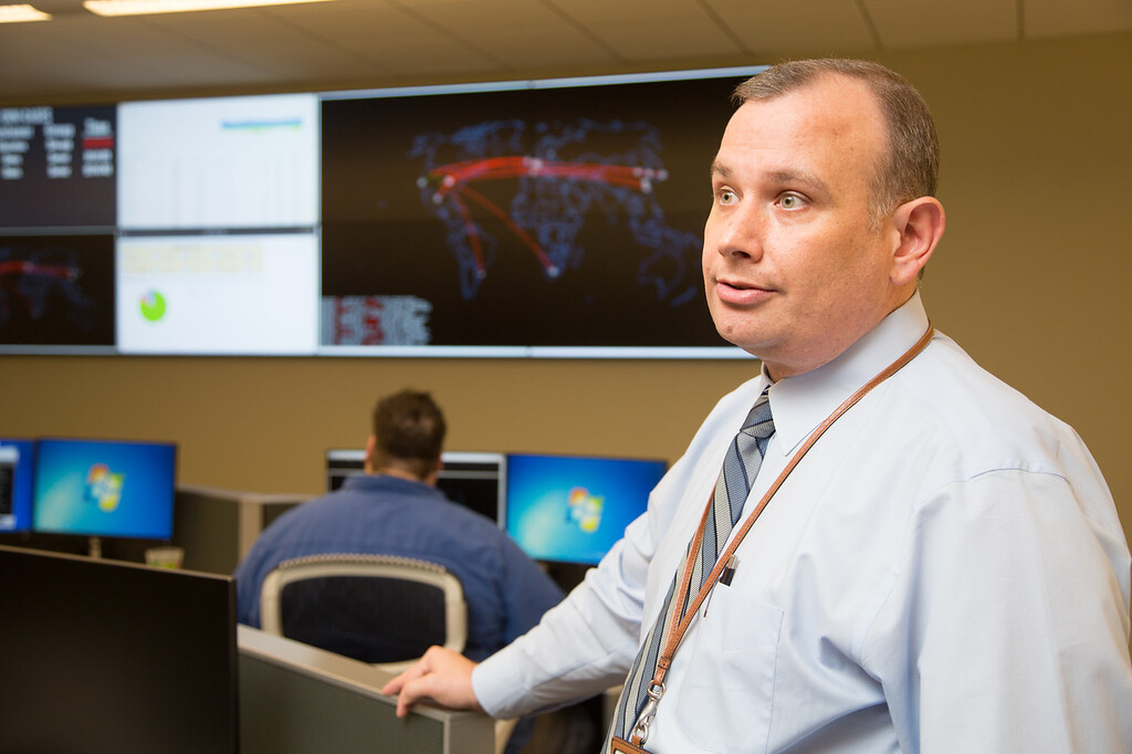 Mark Gower, chief security officer, Office of Management and Enterprise Services in Oklahoma's cyber command room.