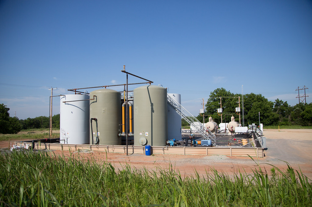 A hydrolic fracturing operation operated by Devon Energy in Payne County. The facility is located directly across the street from where Stillwater City limits begin at Richmand and Jardot Road.