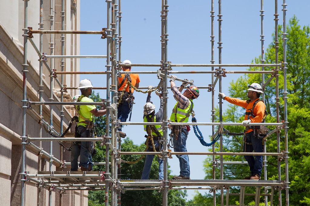 Scafolding being erected around the Oklahoma State Capitol in preperation for renivation to the exterior of the building.