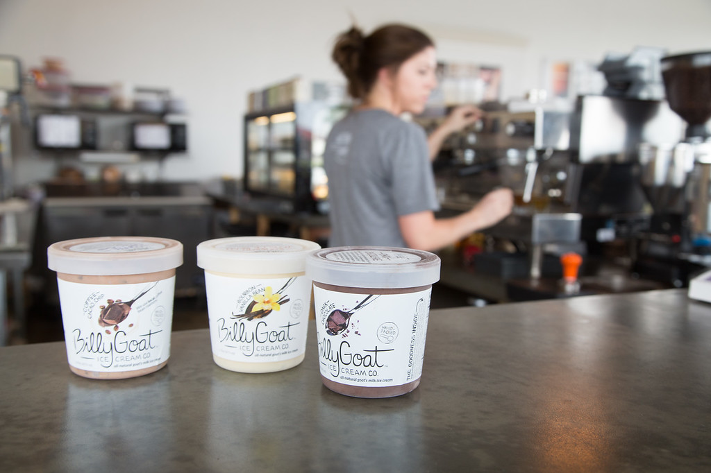 Aspen Coffee in Edmond serves goat milk ice cream and can be purchased by the pint.