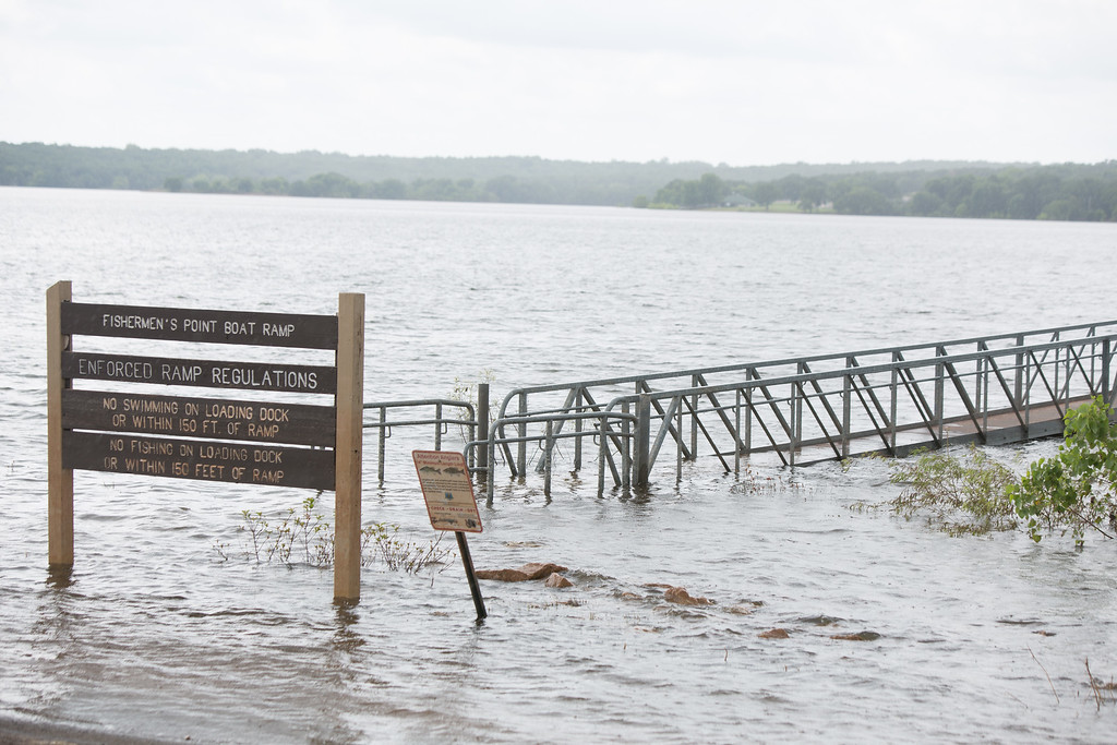 Persistant flooding at Lake Thunderbird State Park is blocking access to raods, docks and boat ramps.